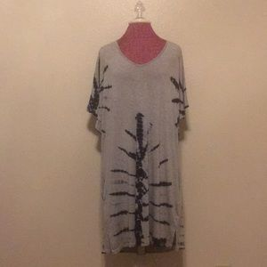Heathered Gray and Navy Tie Dyed Dress